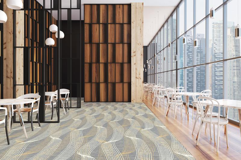 Wavy Brintons QuickWeave carpet design in soft tones from Unity palette in bar lounge area