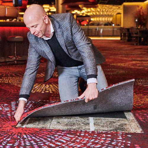 Brintons reproduces its famous axminster broadloom carpet design in tile format